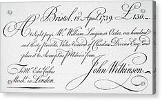 Bill Of Exchange, 1739 Acrylic Print by Granger
