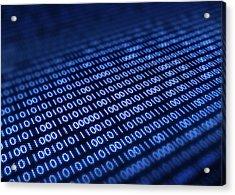 Binary Code On Pixellated Screen Acrylic Print by Johan Swanepoel