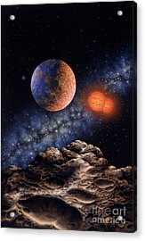Binary Red Dwarf Star System Acrylic Print by Lynette Cook