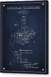 Binocular Microscope Patent Drawing From 1931 - Navy Blue Acrylic Print by Aged Pixel