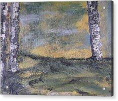 Birch Landscape Acrylic Print by Karen Lillard