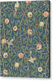 Bird And Pomegranate Acrylic Print by William Morris