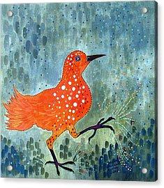 Bird Brain Rain Dance Acrylic Print by Susan Greenwood Lindsay