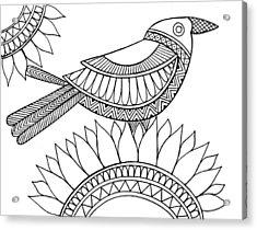 Bird Crow Acrylic Print by Neeti Goswami