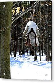 Birdhouse In Winter Acrylic Print by Avis  Noelle