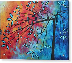 Birds And Blossoms By Madart Acrylic Print by Megan Duncanson