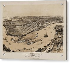 Birds Eye View Of New Orleans 1852 Acrylic Print by Digital Reproductions