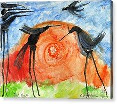 Birds In The Sun. A Black Bird Study 2013 Acrylic Print by Cathy Peterson