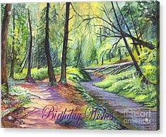 Birthday Wishes-a Woodland Path Acrylic Print by Carol Wisniewski