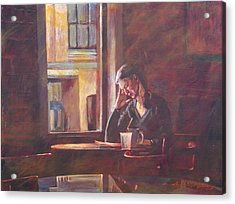 Bistro Student Acrylic Print by David Lloyd Glover