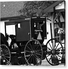 Black And White Amish Buggy Acrylic Print by Dan Sproul