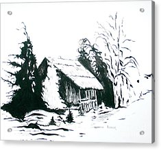 Black And White Barn In Snow Acrylic Print by Joyce Gebauer