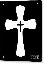 Black And White Cross Acrylic Print by Adri Turner