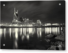 Black And White Image Of Nashville Tn Skyline  Acrylic Print by Jeremy Holmes