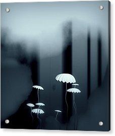 Black And White Mushrooms Acrylic Print by GuoJun Pan