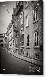 Black And White Old Style Photo Of Old Quebec City Acrylic Print by Edward Fielding