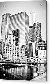 Black And White Picture Of Chicago At Lasalle Bridge Acrylic Print by Paul Velgos