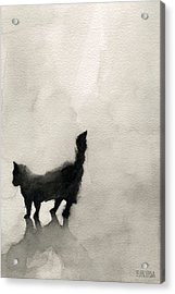 Black Cat Watercolor Painting Acrylic Print by Beverly Brown Prints
