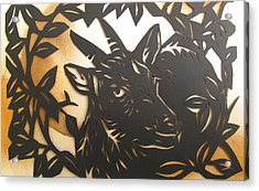 Black Goat Cut Out Acrylic Print by Alfred Ng