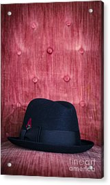 Black Hat On Red Velvet Chair Acrylic Print by Edward Fielding