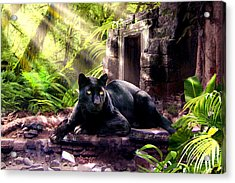 Black Panther Custodian Of Ancient Temple Ruins  Acrylic Print by Regina Femrite