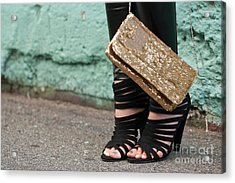 Black Shoes Gold Sequins Acrylic Print by Rick Piper Photography