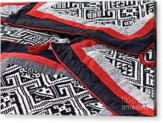 Black Thai Fabric 04 Acrylic Print by Rick Piper Photography
