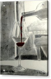 Black White And Red Wine Acrylic Print by Chenee Reyes