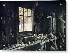 Blacksmiths Workbench - One October Afternoon Acrylic Print by Gary Heller