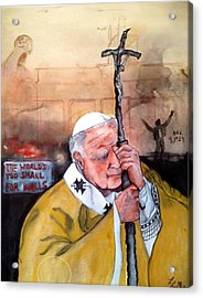 Blessed Pope John Paul II And Collapse Of Berlin Wall Acrylic Print by Laura LaHaye