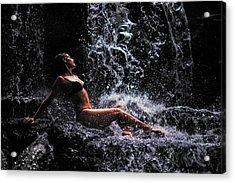 Bliss. Anna At Eureka Waterfalls. Mauritius Acrylic Print by Jenny Rainbow