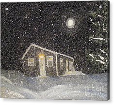 Blizzard At The Cabin Acrylic Print by Barbara Griffin