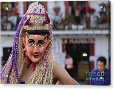 Blonde Nymph At The Santa Prisca Parade Acrylic Print by Linda Queally