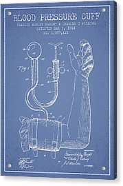 Blood Pressure Cuff Patent From 1914 -light Blue Acrylic Print by Aged Pixel