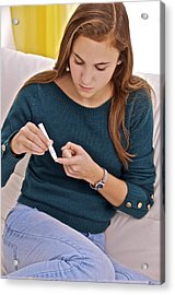 Blood Sugar Level Testing In Diabetes Acrylic Print by Science Photo Library