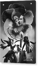 Bloomin' Kiss Vintage Art Bw Acrylic Print by Lesa Fine