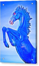 Blucifer The Rearing Blue Mustang Horse Acrylic Print by James BO  Insogna