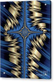Blue And Gold Cross Abstract Acrylic Print by John Edwards