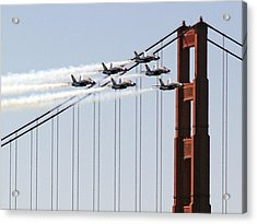 Blue Angels And The Bridge Acrylic Print by Bill Gallagher