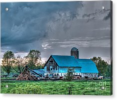 Blue Barn Acrylic Print by Bianca Nadeau
