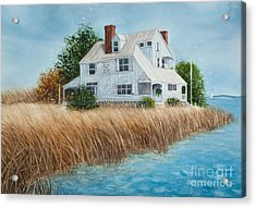 Blue Beach House Acrylic Print by Michelle Wiarda