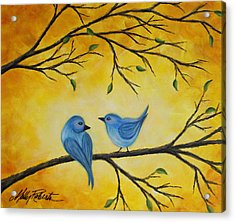 Blue Birds Acrylic Print by Molly Roberts