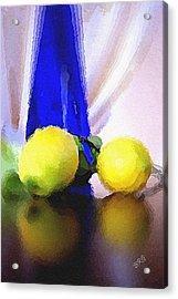 Blue Bottle And Lemons Acrylic Print by Ben and Raisa Gertsberg