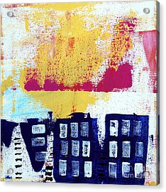 Blue Buildings Acrylic Print by Linda Woods