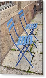 Blue Chairs 2 Stockholm Sweden Acrylic Print by Marianne Campolongo
