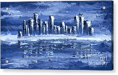 Blue City Acrylic Print by Svetlana Sewell
