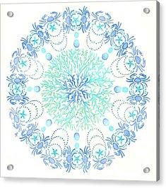 Blue Crab Mandala 5 Acrylic Print by Stephanie Troxell