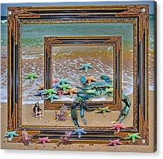 Blue Crab Stars Acrylic Print by Betsy Knapp