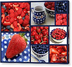 Blue Dishes And Fruit Collage Acrylic Print by Carol Groenen