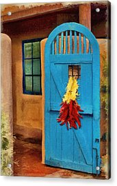 Blue Door And Peppers Acrylic Print by Jeff Kolker